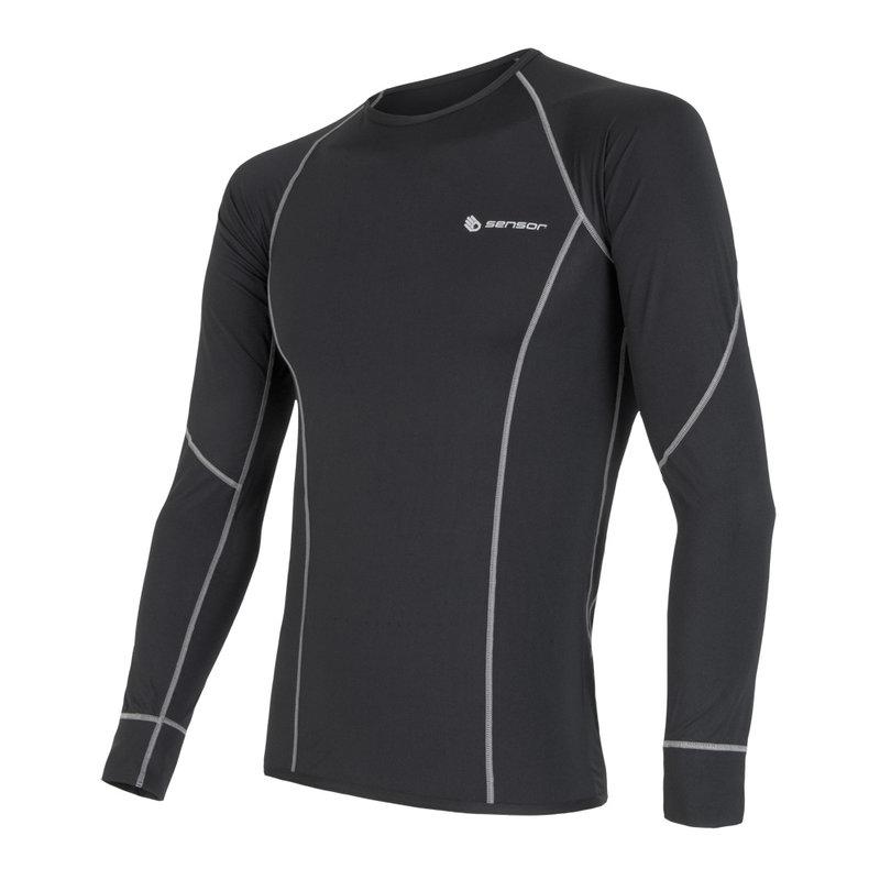 Sensor Coolmax lichtgewicht Tshirt lange mouw heren zwart