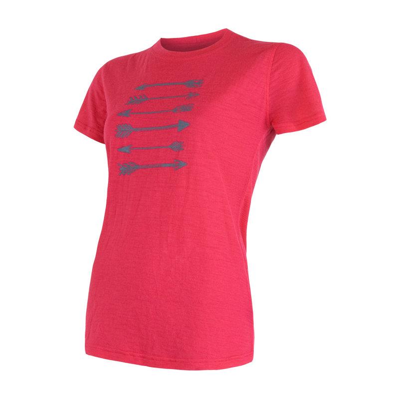 Sensor 100% merino wol t-shirt korte mouw dames magenta