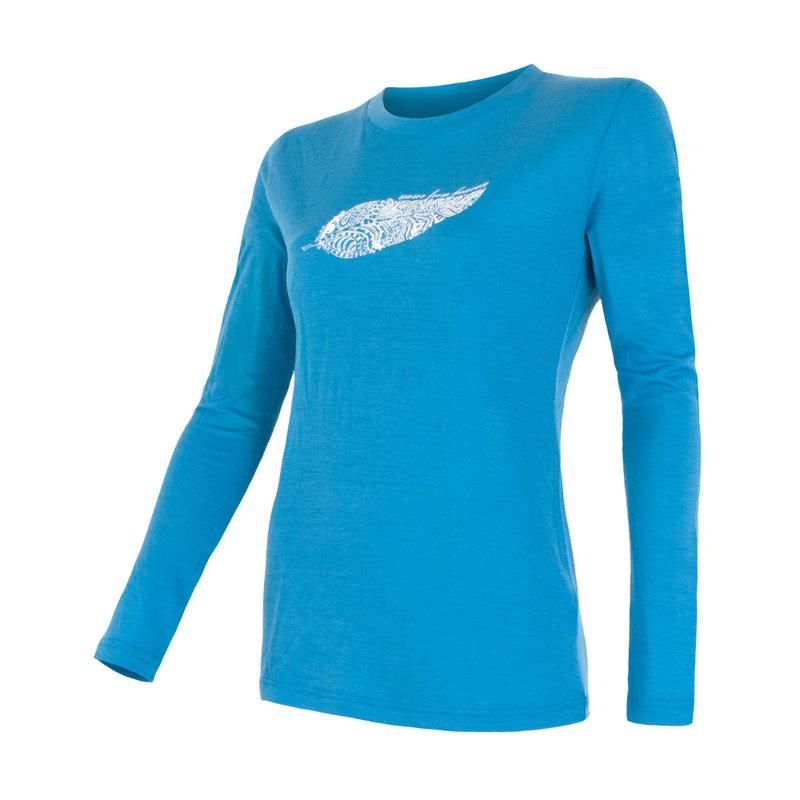 Sensor 100% merino wol t-shirt lange mouw blauw dames