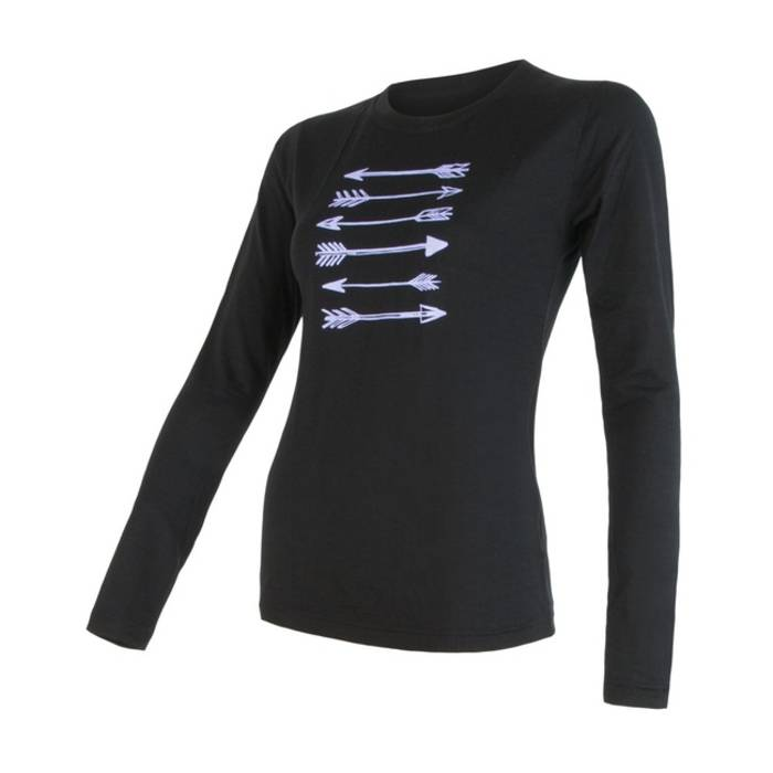 ea9b0348ec98d3 Sensor 100% merino wol t-shirt lange mouw zwart dames | Antrekk