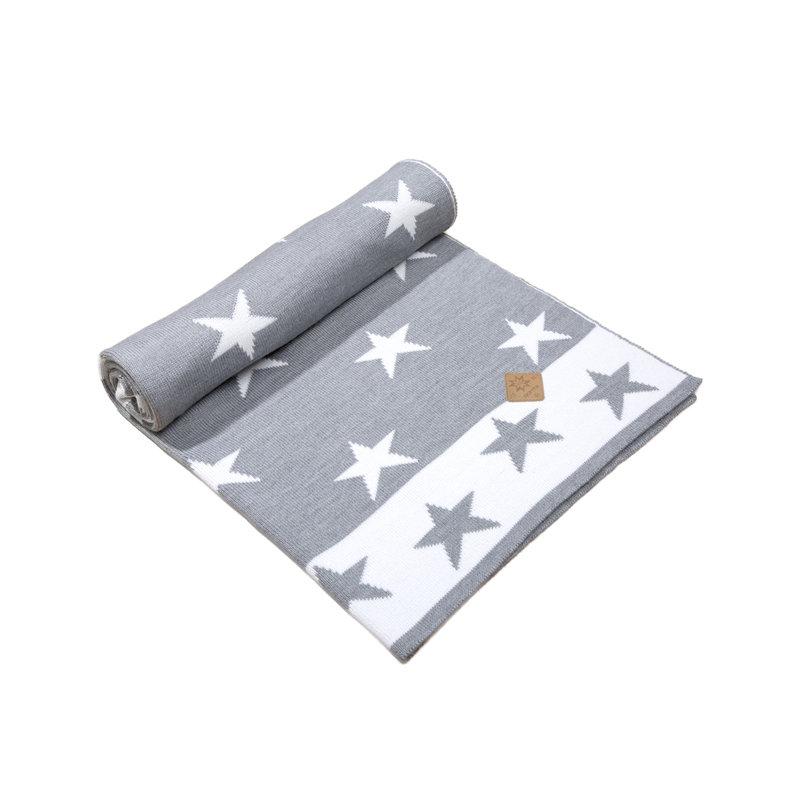 Merinowol babydeken grijs/wit met sterren 70 x 90cm Q102