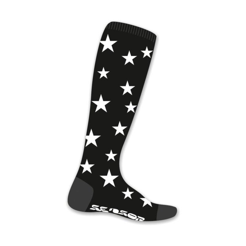 Sensor Thermosnow sokken stars zwart-wit