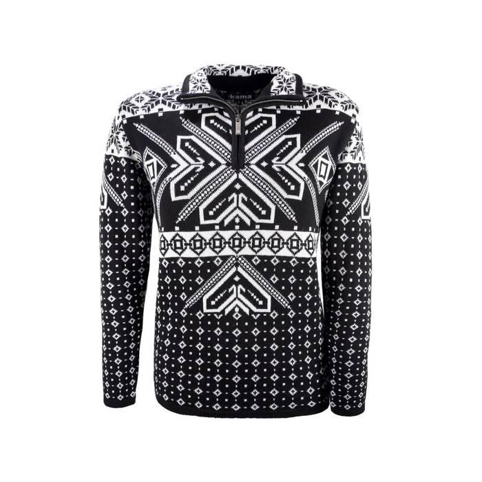Kama trui met Noors motief zwart 4071   Antrekk